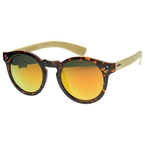 zeroUV - Eco-Friendly Genuine Bamboo Flash Mirror Horn Rimmed Round Sunglasses (Shiny Tortoise / - Friendly Sunglasses Eco