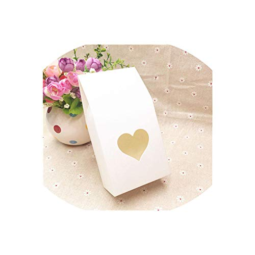 24Pcs Kraft Gift Packaging Bag Clear Pvc Window Seal Food Packing Paper Box For Cookie/Chocolate/Coffee Bean/Candy/Cake 8516Cm,White,8X5X16Cm