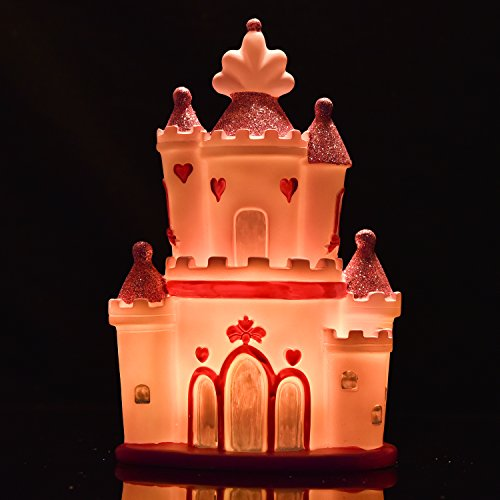 Amazlab LED Table Lamp for Living Room Decoration, Pink Magical and Romantic Castle Shaped Night Lamp for Kids Bedroom, USB Port or Battery Operated, 4 Hour - Kingdom Magic Hours Disney World