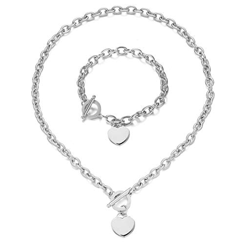 WangGao Heart Pendant Necklace and Bracelet Chain Stainless Steel Silver Love Drop Jewelry Set for Women Girls