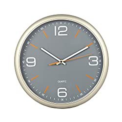 Tempus® Contemporary Wall Clock with Silent Sweep Quiet Movement, 11.8, Gray