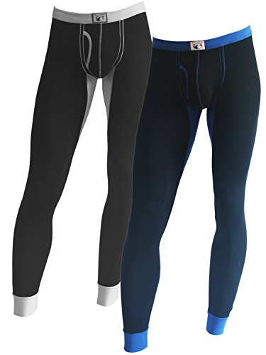 Cadmus Men's Light-Weight Wicking Cotton Thermal Pant,9609,Black & Blue,US L,Tag 2XL