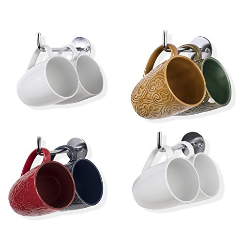 Wallniture Metal Mug Cup Holder Rack - Kitchen Counter top Organizer - Wall Mounted Multi use Hook 5.5 Inches Set of 4 (Chrome)