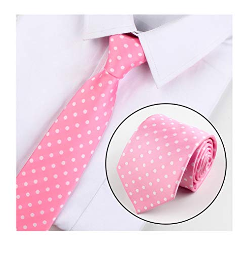 (Men's Pink White Polka Dot Silk Jacquard Woven Self Cravat Tie Necktie Accessory)