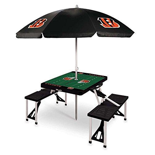 NFL Cincinnati Bengals Picnic Table Sport with Umbrella Digital Print, One Size, Black by PICNIC TIME