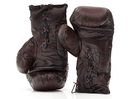 The Modest Vintage Player Heritage Brown Genuine Leather Boxing Gloves, Lace Up ()