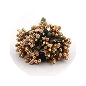 12pcs Mini Bud Stamens Family Garden Handmade Artificial Bouquet Wedding Merry Christmas Decoration DIY Pearl Craft Fake Flower 80