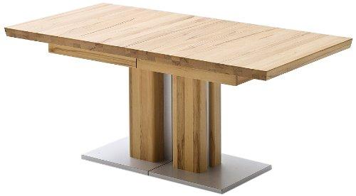 Ausziehbarer Säulentisch Bari - Tischplatte und Gestell Kernbuche massiv matt lackiert - Absetzung Gestell und Bodenplatte Edelstahloptik - Maße in B/H/T: ca. 180(330)x77x90 cm