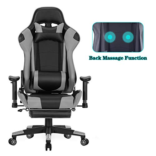 HEALGEN Back Massage Gaming Chair with Footrest,PC Computer Video Game Racing Gamer Chair High Back Reclining Executive Ergonomic Office Desk Chair with Headrest Lumbar Support Cushion GM002 (Grey)