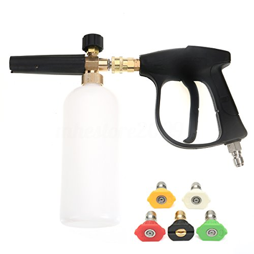 NUZAMAS High Pressure Washer Gun with 5 Water nozzle Tip & 1L Snow Foam Lance Bottle Kit for Car Floor Deck Windows Cleaning Quick Connector