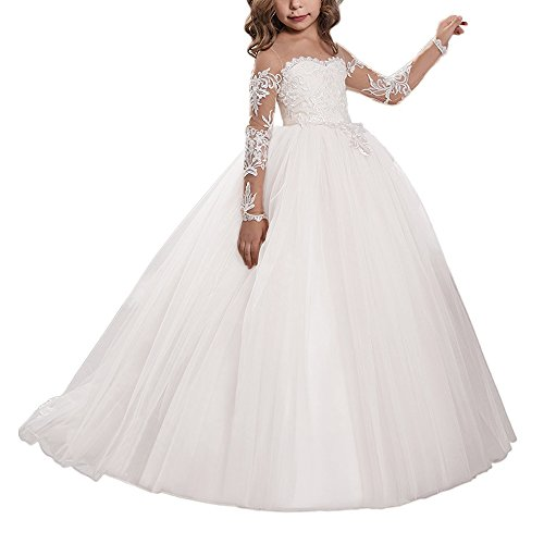 Abaowedding Lace Embroidery Sheer Long Sleeves Kids Trailing Gowns Size 6,White