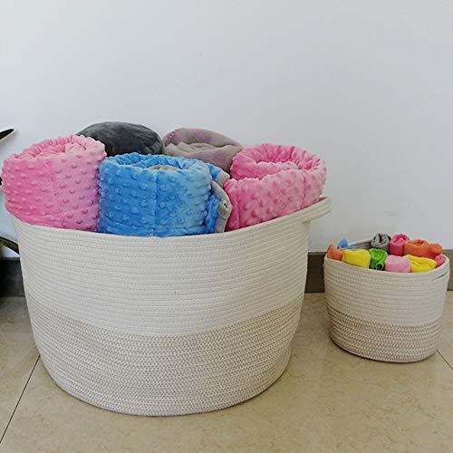 "ZOEMO 2pc XXXL Large Cotton Rope Basket with Handles 22""x14"" Launder Basket, Woven Storage Basket, Large Basket, Blanket Basket, Toy Basket, Pillow Basket, Laundry Hamper, Brown"