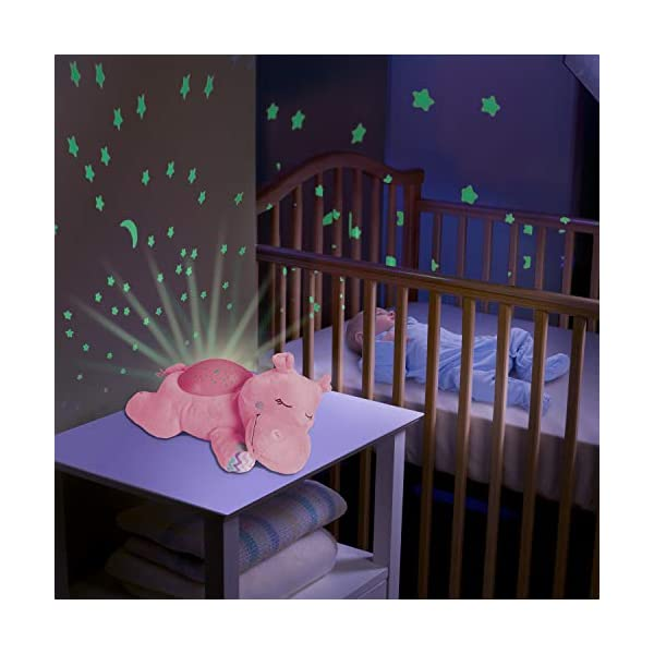 Summer Slumber Buddies Projection and Melodies Soother Dozing Hippo, Pink