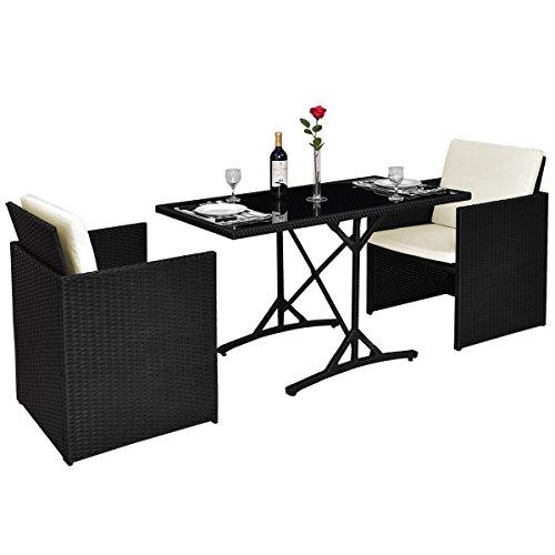 Cheap  Tangkula 3PCS Patio Wicker Furniture Set Ourdoor Rattan Dining Set W/Cushions
