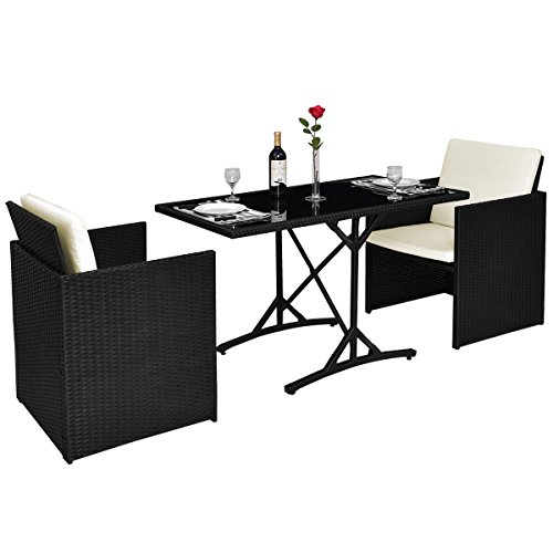 Tangkula Patio Furniture Outdoor Wicker Rattan Dining Set Cushioned Seat Garden Sectional Conversation Sofa with Glass Top Coffee Table 3pcs Black