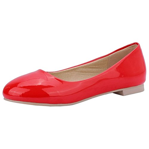 Coolcept Mujer Tacon Bajo Bombas Zapatos Red