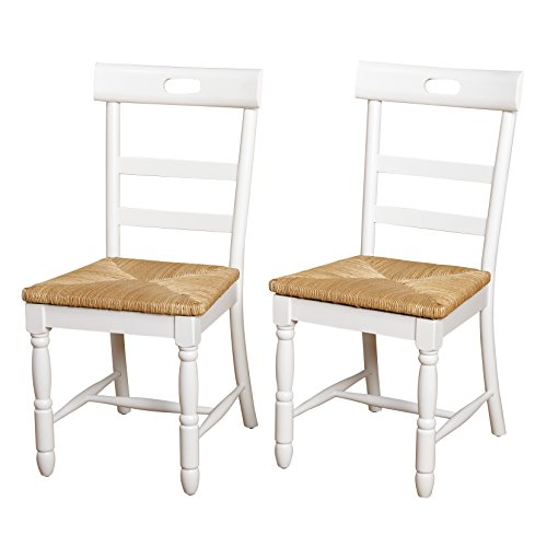 Target Marketing Systems Briana Series Contemporary Country Style Woven Wooden Crafted Dining Chairs, White, Set of 2