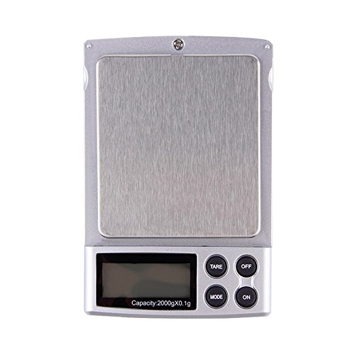 Homily 2000g x 0.1g Mini Pocket Gram Electronic Balance LCD Display Digital Jewelry Scales Weighing Kitchen (0.1g Tube)