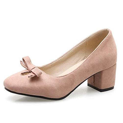 Suede Mujer de Chunky Pink Comfort Heels Spring ZHZNVX Zapatos Almond Black Almond Heel aOtwqnH