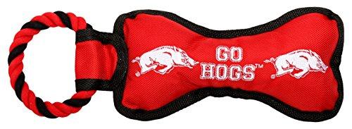 Arkansas Toy - Pet Goods Manufacturing BONERP-007 NCAA Arkansas Razorbacks Bone with Rope Dog Toy