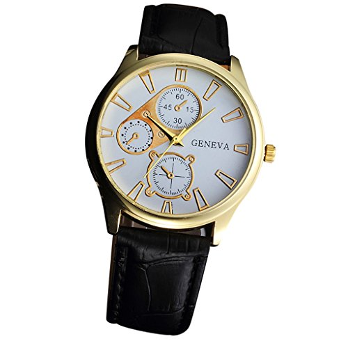 Toamen Classic Design Analog Quartz Business Watches with Geneva Leather Strap Wristwatch (B)