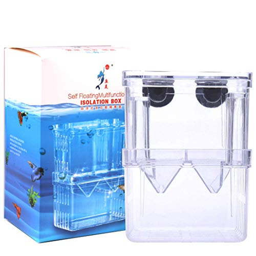 Tiberham Fish Breeding Box, Acrylic Floating Fish Hatchery Isolation Box, Double Layer Fry Hatching Incubator Breeding Rearing Trap, Aquarium Tank Fish Parenting Container Divider with Suction Cups ()