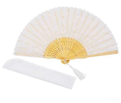 [Meifan Womens Multi Color Handmade Cotton Lace Folding Hand Fan (White)] (Mini Black And White Spanish Hat)