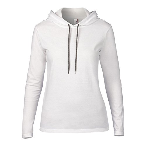 Anvil Womens Fashion Basic Long Sleeve Hooded T Shirt White/ Dark Grey