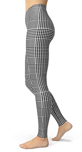 (Women's Checkered Plaid Printed Leggings Stretchy Brushed Buttery Soft Tights (Plus Size(L-2XL/Size 12-24), Houndstooth))