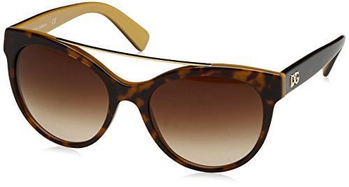 D&G Dolce & Gabbana Women's 0DG4280 Round Sunglasses, Top Havana On Gold, 57 mm by Dolce & Gabbana (Image #1)