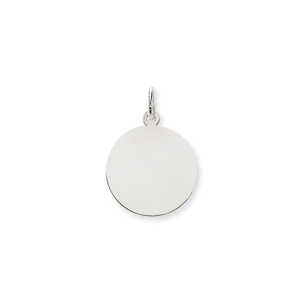 14K White Gold .027 Gauge Round Engravable Disc Charm Pendant