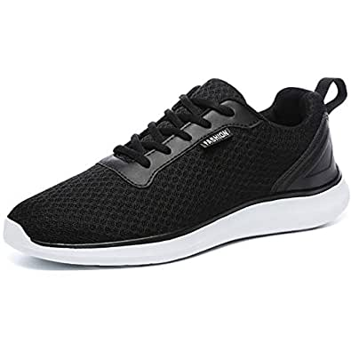 GESIMEI Men's Breathable Mesh Tennis Shoes Comfortable Gym Sneakers Lightweight Athletic Running Shoes Black 10 M US