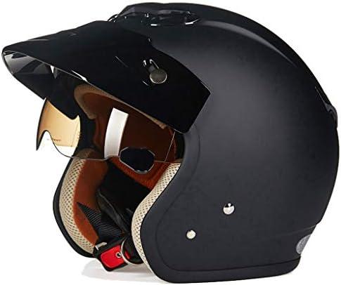 ZJJ ヘルメット- セミカバーヘルメット、ユニセックスヘルメット、雨および紫外線保護用ヘルメット、ブラウンショートレンズ (色 : マットブラック まっとぶらっく, サイズ さいず : M)