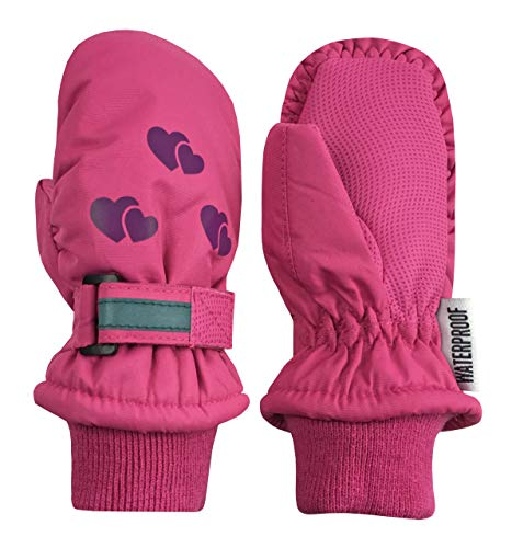 - N'Ice Caps Kids Thinsulate Waterproof Reflector Winter Snow Ski Mittens (Fuchsia/Purple Reflector Hearts, 3-4 Years)