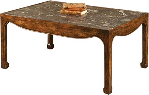 EuroLuxHome Cocktail Table French Walnut Gold Leaf Trim Marble Top New