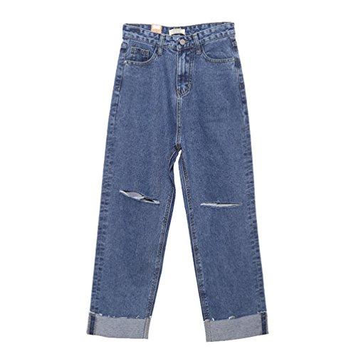 Lihaer Rotos De Retro Mujer De Jeans De Mujeres Jeans Denim Tamaño Las Alta Azul Pantalones Vaqueros Cintura Pantalon Gran De r1qrw8p