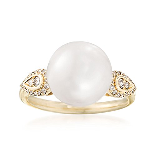 Pearl 14kt Gold Ring Ladies (Ross-Simons 11-12mm Cultured Pearl Ring With .17 ct. t.w. Diamond Ring in 14kt Yellow Gold)