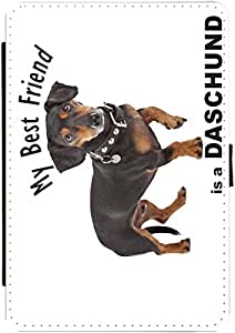 Rikki KnightTM My Best Friend is a Black Daschund Dog Design Protective Black Snap on Slim-Fit Shell Case with Black pu Leather and Faux Suede Case for Apple iPad? Mini