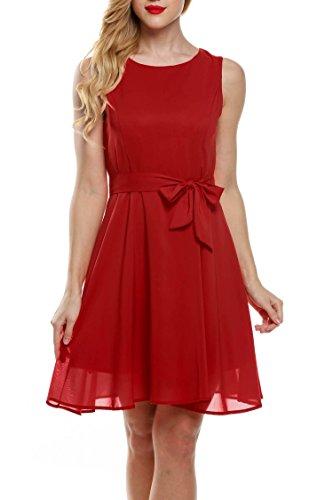 Zeagoo mujer verano gasa a-line sin mangas plisado partido cóctel vestido con cinturón Rosso