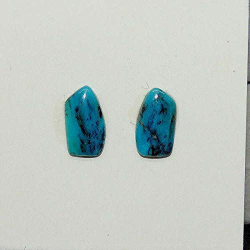 Peruvian Blue Andean Opal Cabochons 11.5x6.5mm with 3mm Dome Set of 2