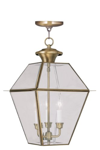 (Livex Lighting 2385-01 Westover 3-Light Outdoor Hanging Lantern, Antique Brass)