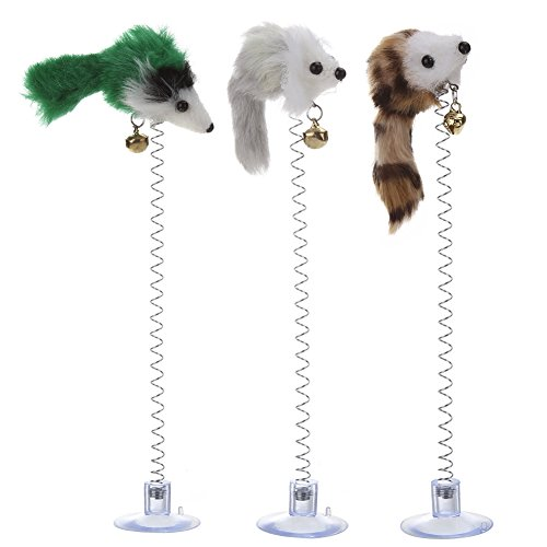 Money coming shop 3Pcs Funny Cat Toys Elastic Feather False Mouse Bottom Sucker Toys for Cat Kitten Playing Pet Seat Scratch Toy Pet Cat - Oakley Head Office
