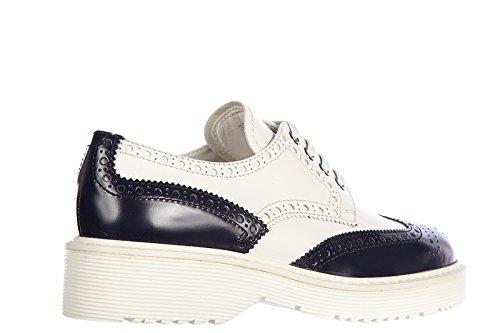 Prada nuove in Bianco stringate scarpe derby pelle classiche donna bicolor bianco fnfrYq