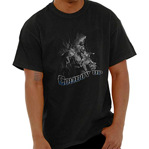 Cowboy Up Country Southern Western Rodeo T Shirt Tee Black