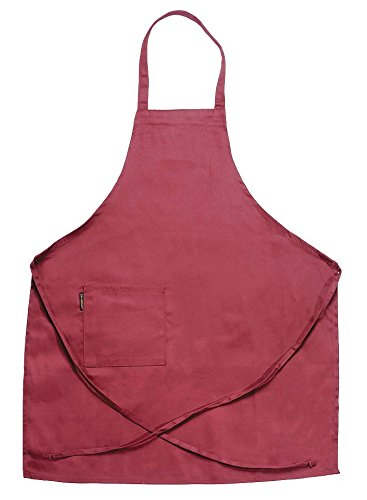 Chef Revival Bib Apron - Chef Revival 601BAC Poly Cotton Full Length Bib Apron with Side Pocket, 34 by 30-Inch, Burgundy