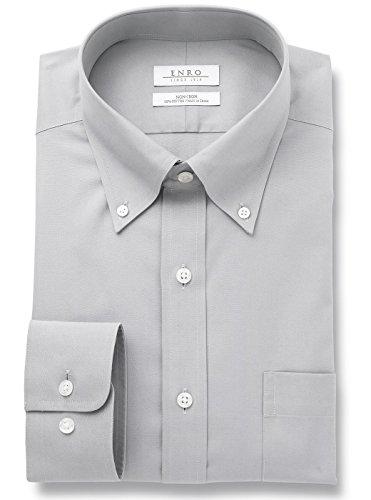 Enro Men's Newton Pinpoint Non Iron Button Down Collar Dress Shirt (Grey, 17.5 32/33)