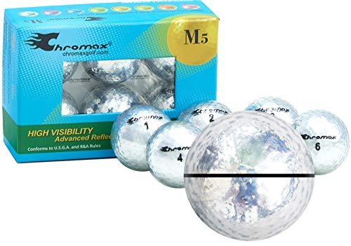 Chromax Metallic Silver AlignXL Personalized M5 Golf Balls - 6-Pack