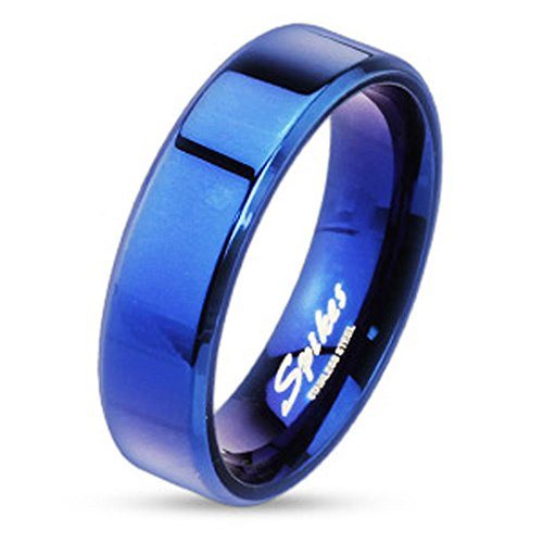 Jinique STR-0026 Blue IP Over Stainless Steel Beveled Edge Flat Band Ring; Comes Box