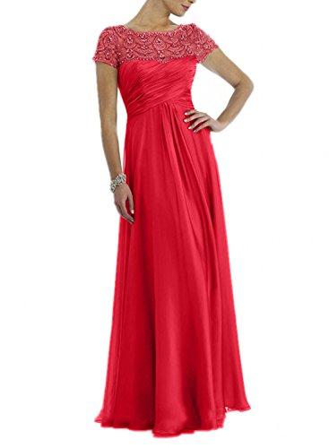Damen Brautmutterkleider Steine Grau Charmant Rot Rock Neu Promkleider Abendkleider Chiffon Kurzarm Lang dnXOqw