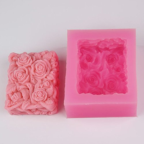 Rose Soap Molds - 3d Flower Rose Soap Mold Square Silicone - Mold Soap Rose Square Making Molds Cake Molds Mold Soap Flower Silicon Scuba Photography Adapter Mould Sculpey Computer Orchid